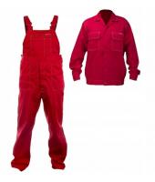 Spodnie robocze ogrodniczki czerwone mocne