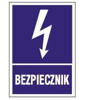 Naklejka BEZPIECZNIK 7x10 cm